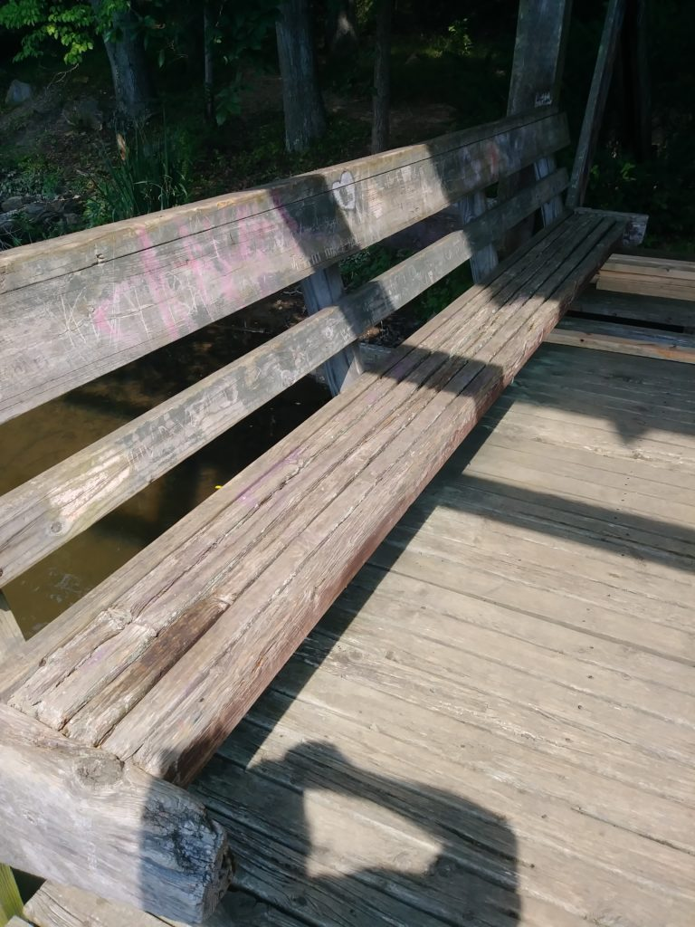 An old bench. Missing multiple boards and needing replacement.