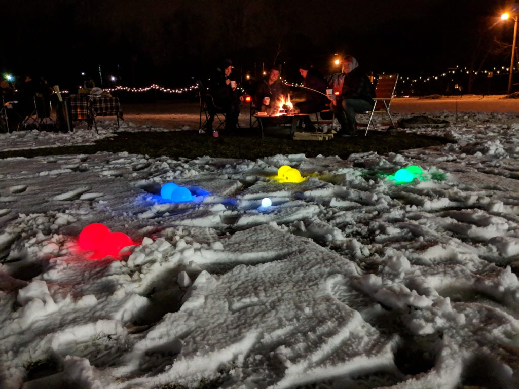 Enough snow to help the bocce balls glow!